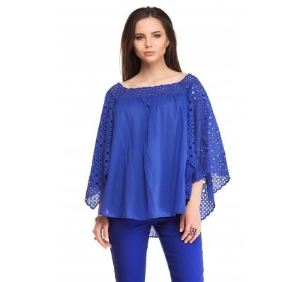 Блуза с воланами из прошвы синего цвета