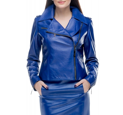 Leather jacket in blue color
