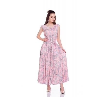 Платье розовое с принтом под пояс