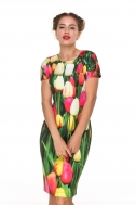 Dress fitted with tulips  - Фото