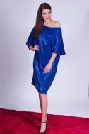 Платье синее пайетка - Фото