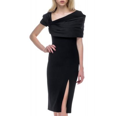 Платье с драпировкой на плечах черного цвета