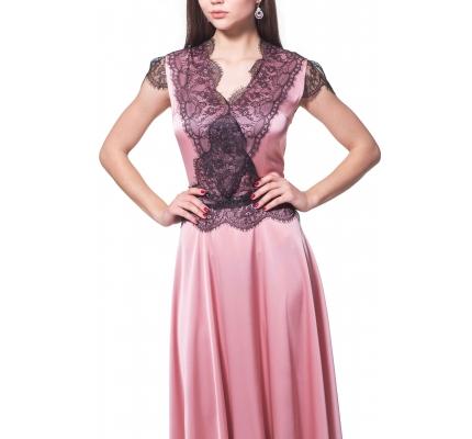 Сукня рожева з чорним мереживом