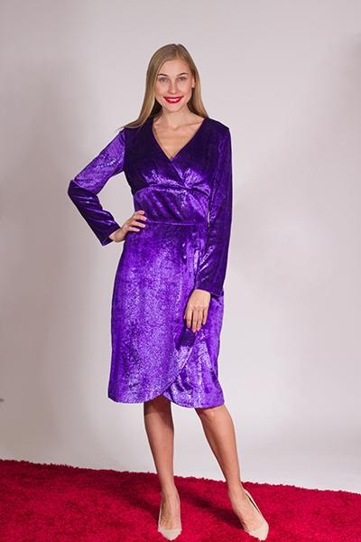 Платье велюровое фиолетовое - Фото