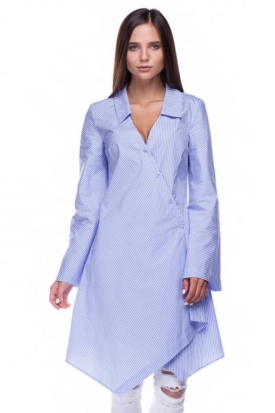 Рубашка длинная голубая полоска - Фото