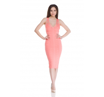 Dress with a case of coral color