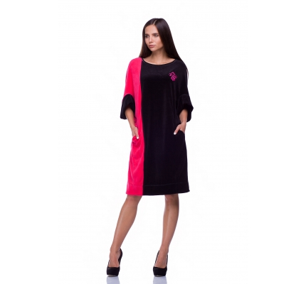 Платье велюровое малиново-черное