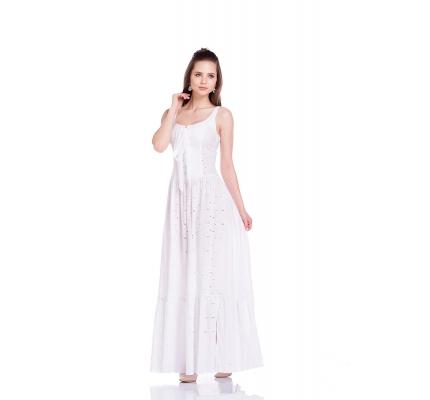 Сарафан белого цвета со шнуровкой на груди