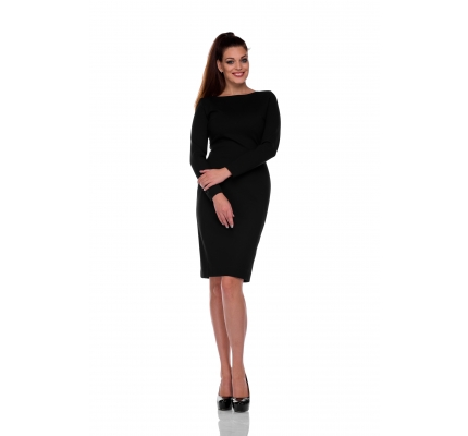 Платье-футляр черное, молния на спине
