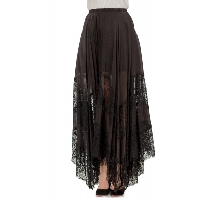 Skirt with lace black color