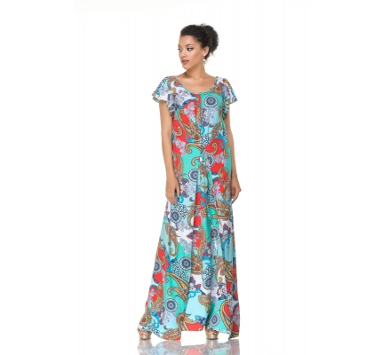 Maxi dress with blue ornament
