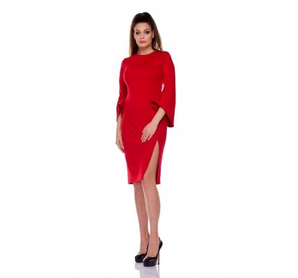 Платье красное рукав клеш