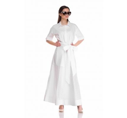 Платье рубашка с прошвой белого цвета