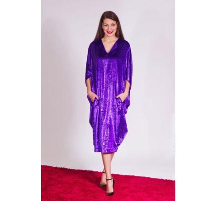 Платье велюровое фиолетовое буль