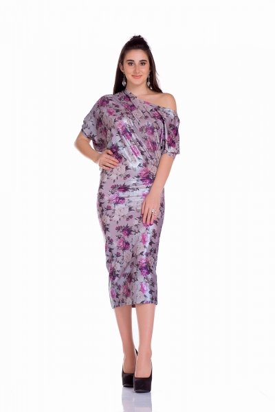 Dress asymmetrical floral print - Фото