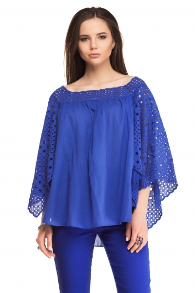 Blouse with flounces of blue color - Фото