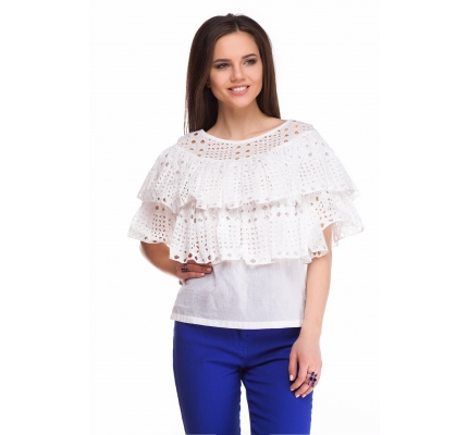 Blouse with flounces of white color