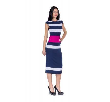Платье трикотажное синее-цикламен