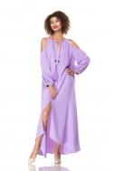 Платье лавандовое с открытым плечом - Фото