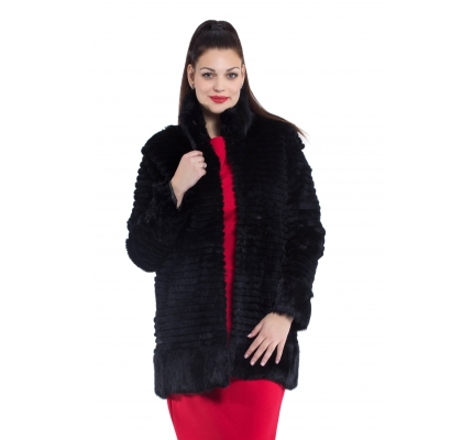 Fur coat black color