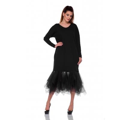 Платье черное с фатиновой юбкой