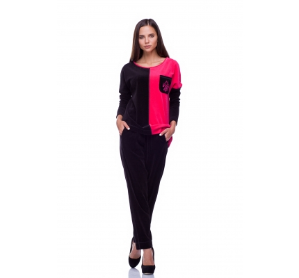Costume velor pink and black color
