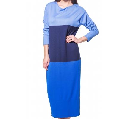 Платье трикотажное сине-голубое