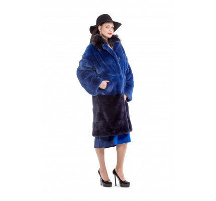 Fur coat dark blue color