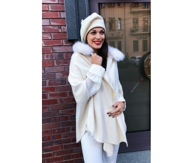 Milk collar cardigan fur