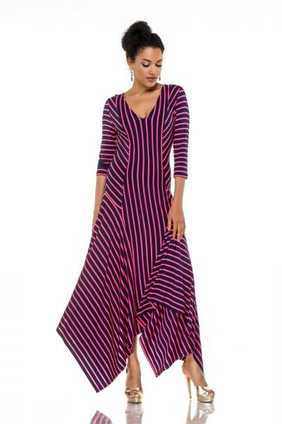 Платье-углы малиновая полоса - Фото