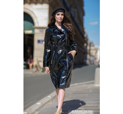 Black eco-leather varnish raincoat