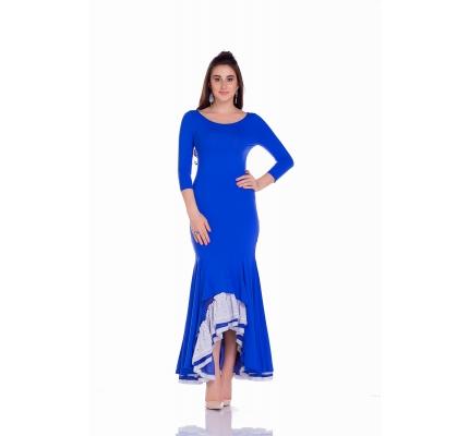 Платье синего цвета с юбкой