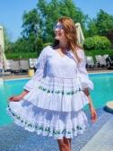Платье короткое нежно голубое с прошвой  - Фото