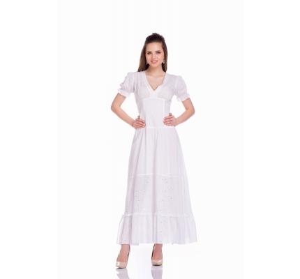 Платье белое комбинированное с прошвой