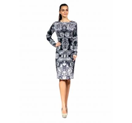 Платье-футляр серый орнамент