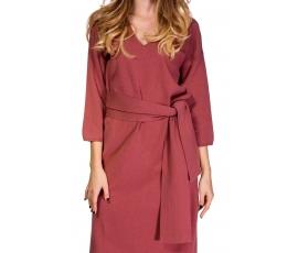 Сукня з поясом кольору запорошений кедр