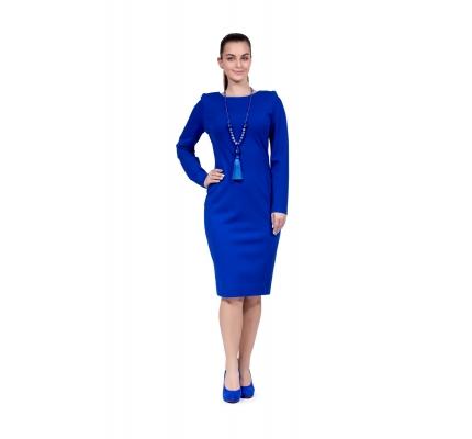 Платье-футляр синее с черной вставкой