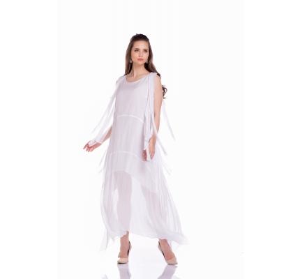 Платье белое с завязками на рукавах