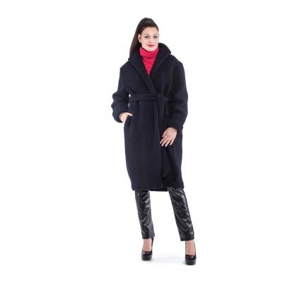 Пальто темно-синього кольору з поясом
