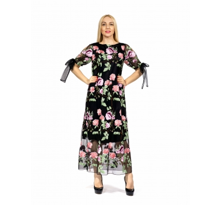 Платье длинное сетка в розах