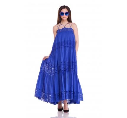 Сарафан с прошвой синего цвета