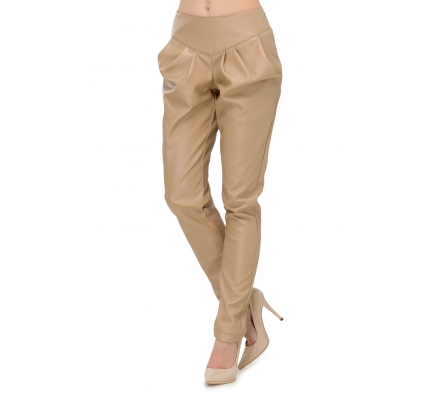 Pants made of eco-leather beige with wide pockets