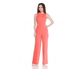 Overalls with coral-colored zippers