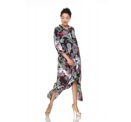 Платье-рубашка с орнаментом