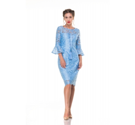 Guipure dress blue color