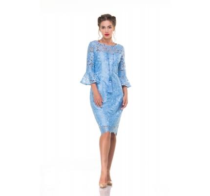 Платье голубое гипюровое