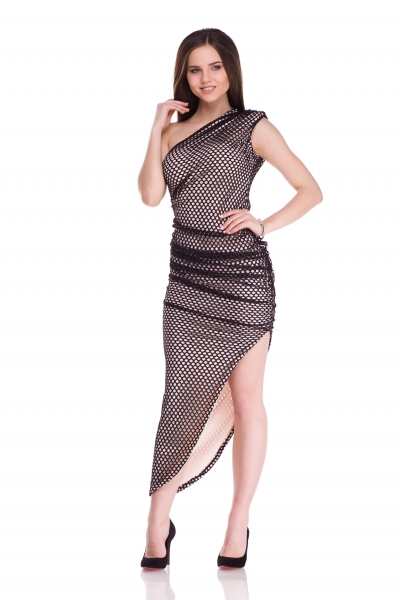 Dress asymmetrical with a grid of black color - Фото