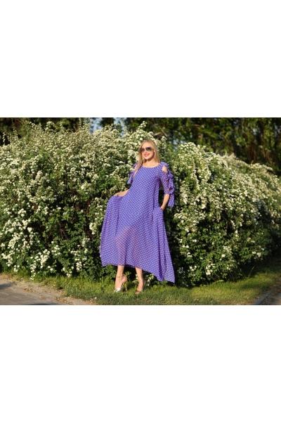 Платье синего цвета в горошек - Фото