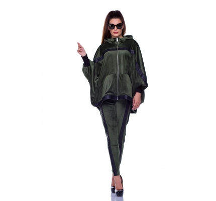 Velor suit olive color