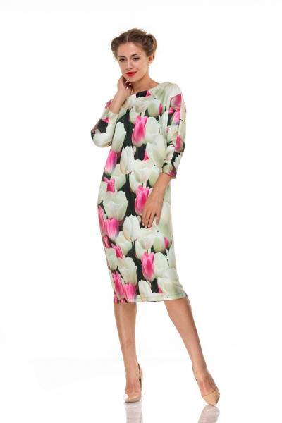 Платье прямое белые тюльпаны - Фото